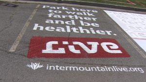 Park Here to Walk Farther and Be Healthier - Parking Lot