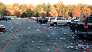 Trash From Cars In Parking Lot
